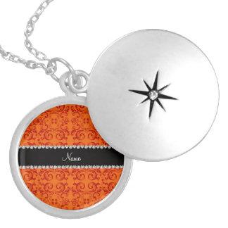 Personalized name orange damask swirls custom necklace