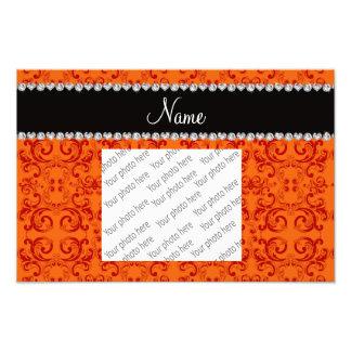 Personalized name orange damask swirls photo print
