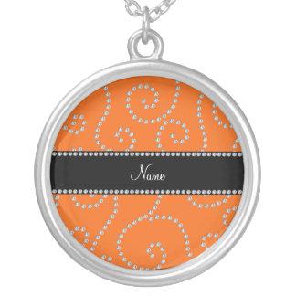 Personalized name orange diamond swirls pendants