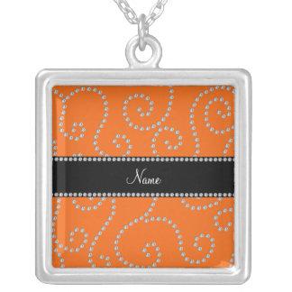 Personalized name orange diamond swirls necklace