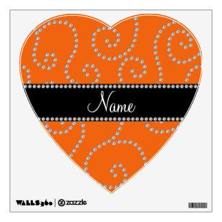 Personalized name orange diamond swirls room stickers