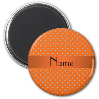 Personalized name orange diamonds 2 inch round magnet