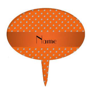 Personalized name orange diamonds cake topper