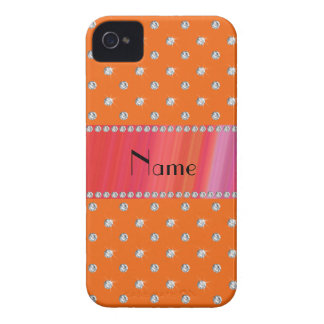 Personalized name orange diamonds iPhone 4 cover