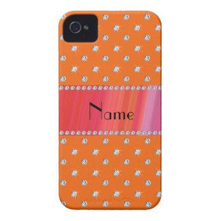 Personalized name orange diamonds iPhone 4 cover