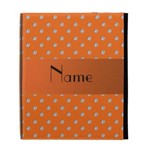 Personalized name orange diamonds iPad folio cover