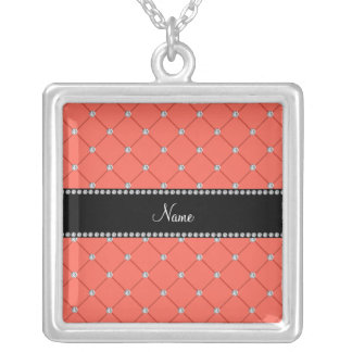 Personalized name Orange diamonds Necklaces