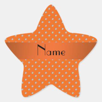 Personalized name orange diamonds star sticker