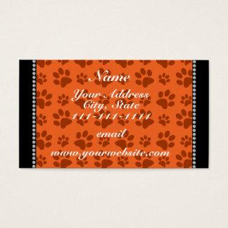 Personalized name orange dog paw print business card
