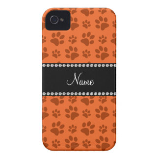 Personalized name orange dog paw print Case-Mate iPhone 4 case