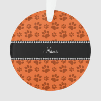 Personalized name orange dog paw print ornament
