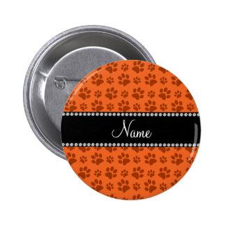 Personalized name orange dog paw print pinback button