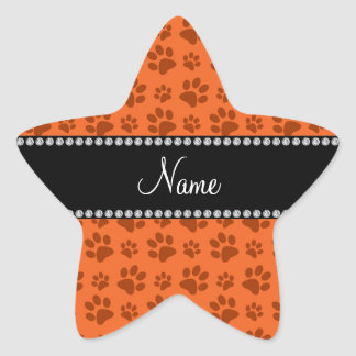 Personalized name orange dog paw print star stickers