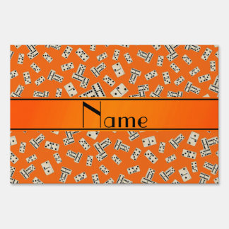 Personalized name orange dominos yard signs