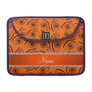 Personalized name orange eye pattern sleeves for MacBooks