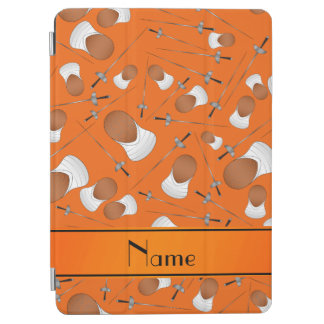 Personalized name orange fencing pattern iPad air cover