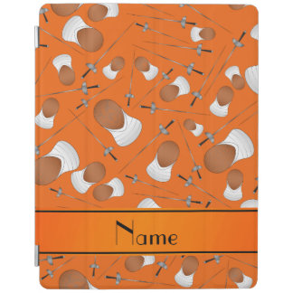Personalized name orange fencing pattern iPad cover