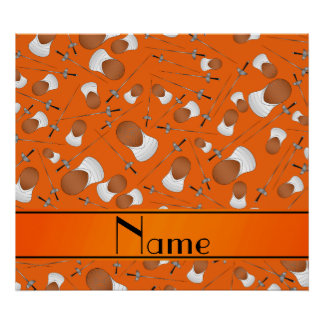 Personalized name orange fencing pattern poster