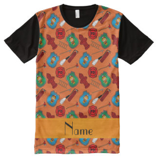 Personalized name orange firemen badges hydrants All-Over print t-shirt