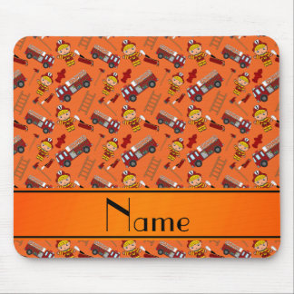 Personalized name orange firemen trucks ladders mouse pad