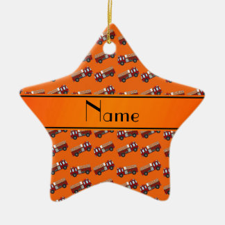 Personalized name orange firetrucks Double-Sided star ceramic christmas ornament