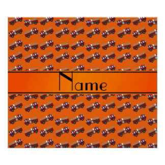 Personalized name orange firetrucks print