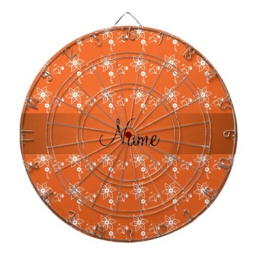 Personalized name orange flowers dartboard with darts