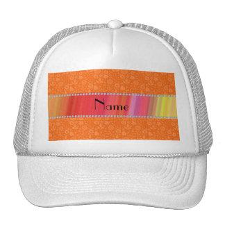 Personalized name orange flowers leaves trucker hat