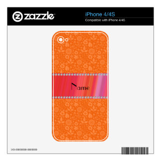 Personalized name orange flowers leaves decal for iPhone 4S