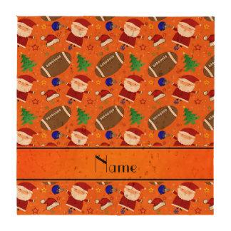 Personalized name orange football christmas coaster