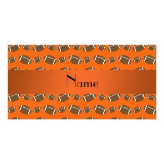 Personalized name orange footballs photo greeting card