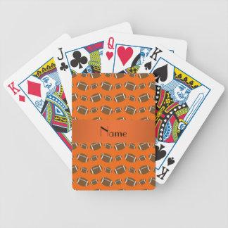 Personalized name orange footballs bicycle poker cards