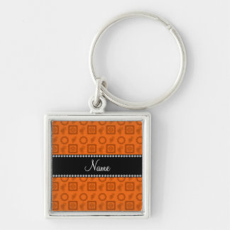 Personalized name orange funky retro flowers Silver-Colored square keychain