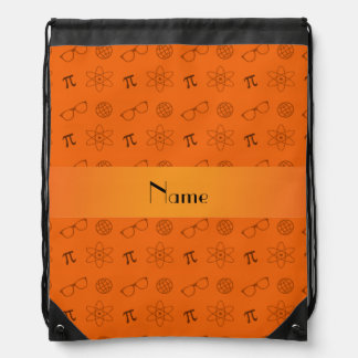 Personalized name orange geek pattern cinch bag