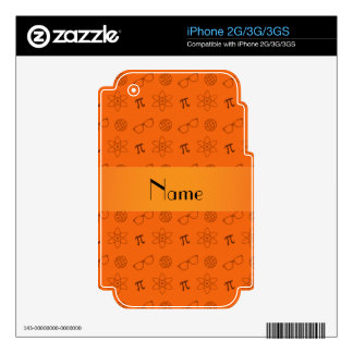 Personalized name orange geek pattern decal for the iPhone 3G