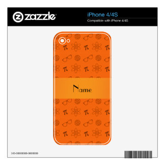 Personalized name orange geek pattern decal for iPhone 4