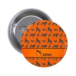 Personalized name orange Giant Schnauzer dogs 2 Inch Round Button