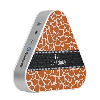 Personalized name orange giraffe pattern speaker