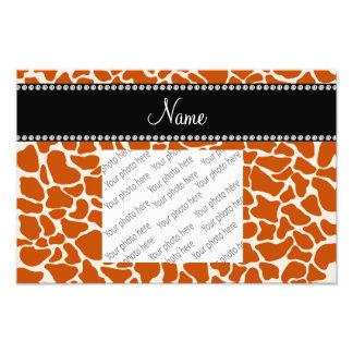 Personalized name orange giraffe pattern photo print