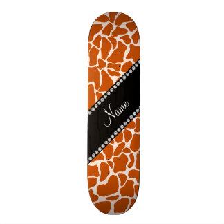 Personalized name orange giraffe pattern custom skateboard