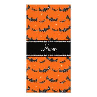 Personalized name orange glitter bats photo card