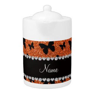 Personalized name orange glitter butterflies