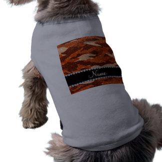 Personalized name orange glitter camouflage dog tee shirt