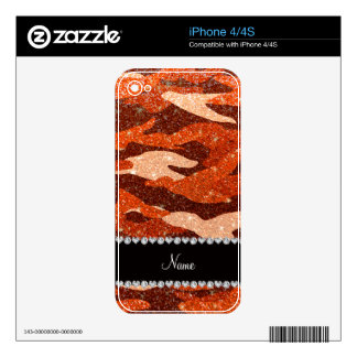 Personalized name orange glitter camouflage skin for iPhone 4S