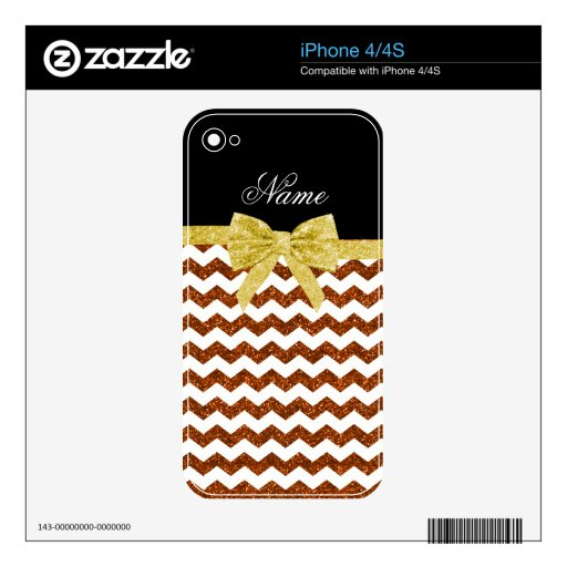 Personalized name orange glitter chevrons bow skin for the iPhone 4