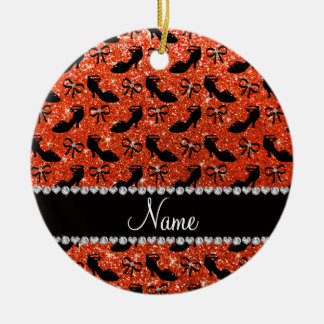 Personalized name orange glitter fancy shoes bows ceramic ornament