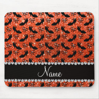 Personalized name orange glitter fancy shoes bows mouse pad