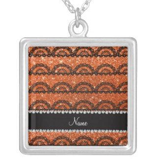 Personalized name orange glitter lace pendant