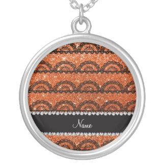 Personalized name orange glitter lace custom necklace