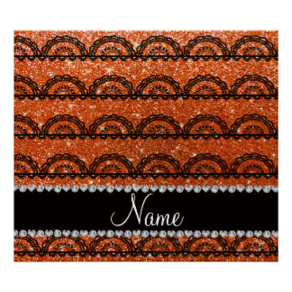 Personalized name orange glitter lace posters